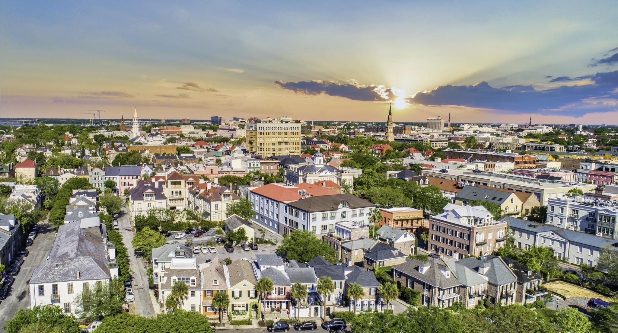 Downtown Charleston South Carolina Skyline Aerial