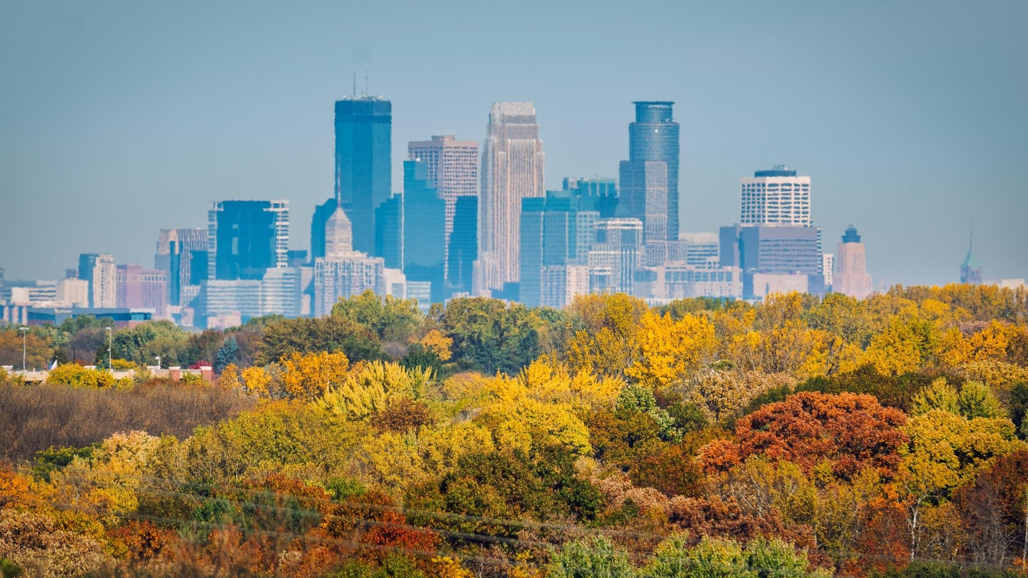 Minneapolis skyline during fall