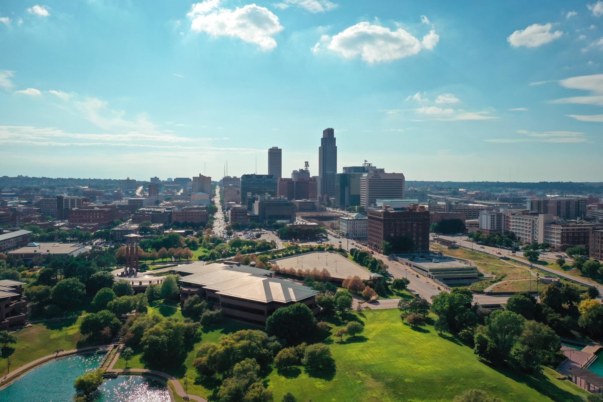 Aerial view of downtown Omaha Nebraska USA